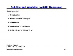 Building and Applying Logistic Regression