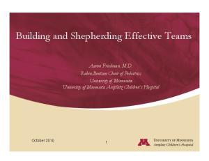 Building and Shepherding Effective Teams