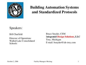 Building Automation Systems and Standardized Protocols