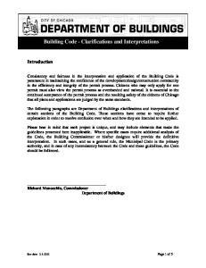 Building Code - Clarifications and Interpretations
