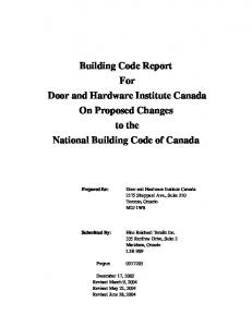 Building Code Report For Door and Hardware Institute Canada On Proposed Changes to the National Building Code of Canada