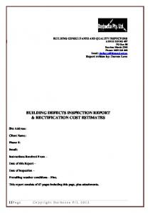 BUILDING DEFECTS INSPECTION REPORT & RECTIFICATION COST ESTIMATES