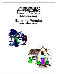 Building Department. Building Permits A Homeowner s Guide