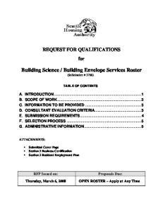 Building Envelope Services Roster (Solicitation # 3788)