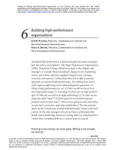 Building high-performance organizations