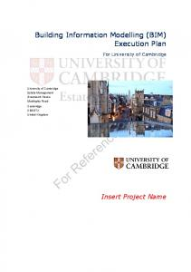 Building Information Modelling (BIM) Execution Plan