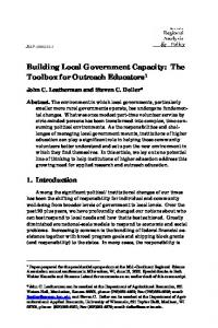 Building Local Government Capacity: The Toolbox for Outreach Educators 1