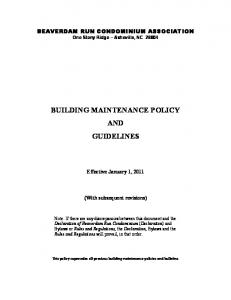BUILDING MAINTENANCE POLICY AND GUIDELINES