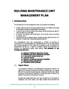 BUILDING MAINTENANCE UNIT MANAGEMENT PLAN