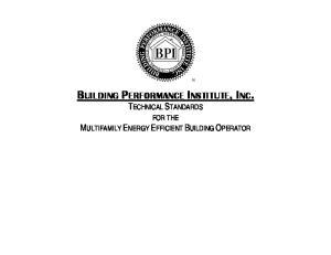 BUILDING PERFORMANCE INSTITUTE, INC