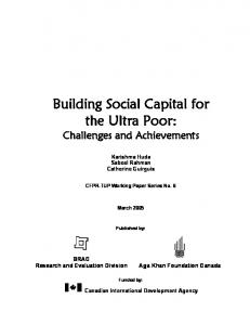 Building Social Capital for the Ultra Poor: Challenges and Achievements
