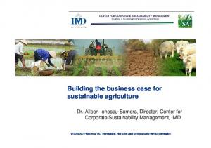 Building the business case for sustainable agriculture