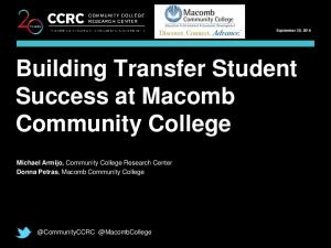 Building Transfer Student Success at Macomb Community College