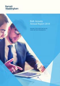 Bulk Annuity Annual Report 2016
