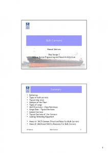 Bulk Carriers. Summary