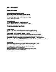 Bulk Mail Datasheet. Program Requirements
