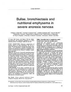 Bullae, bronchiectasis and nutritional emphysema in severe anorexia nervosa