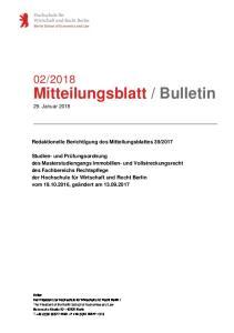 Bulletin 29. Januar 2018