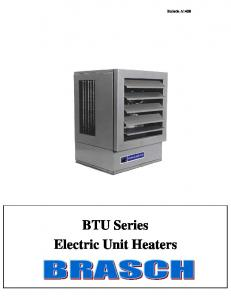 Bulletin A140B. BTU Series Electric Unit Heaters