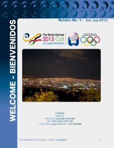 Bulletin No. 1 - Cali, July 2012