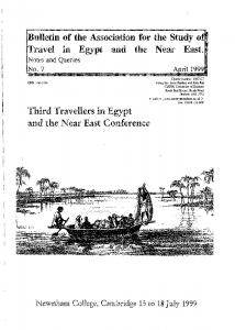 Bulletin of the Association for the Study of Travel in Egypt and the Near East: