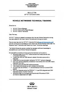BULLETIN VEHICLE NETWORKS TECHNICAL TRAINING