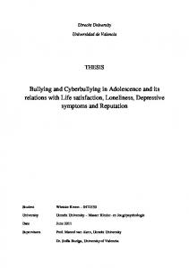 Bullying and Cyberbullying in Adolescence and its relations with Life satisfaction, Loneliness, Depressive symptoms and Reputation