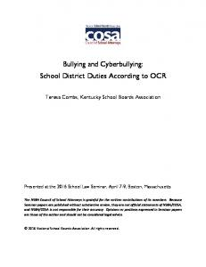Bullying and Cyberbullying: School District Duties According to OCR