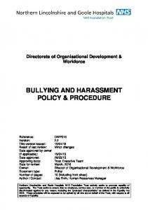 BULLYING AND HARASSMENT POLICY & PROCEDURE
