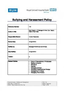 Bullying and Harassment Policy