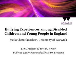 Bullying Experiences among Disabled Children and Young People in England
