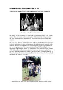 Bundamba Secondary College Newsletter May 16, 2002 ANZAC DAY CEREMONY AT BUNDAMBA SECONDARY COLLEGE