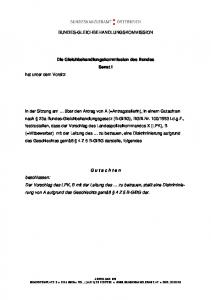 BUNDES-GLEICHBEHANDLUNGSKOMMISSION. Die Gleichbehandlungskommission des Bundes Senat I