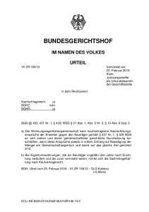 BUNDESGERICHTSHOF IM NAMEN DES VOLKES URTEIL. in dem Rechtsstreit. BGB 433, 437 Nr. 1, 439; WEG 21 Abs. 1, Abs. 5 Nr. 2, 10 Abs
