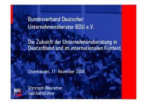 Bundesverband Deutscher Unternehmensberater BDU e.v