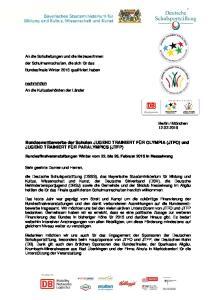 Bundeswettbewerbe der Schulen JUGEND TRAINIERT FÜR OLYMPIA (JTFO) und JUGEND TRAINIERT FÜR PARALYMPICS (JTFP)