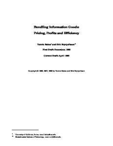 Bundling Information Goods: Pricing, Profits and Efficiency