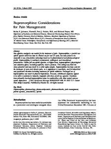 Buprenorphine: Considerations for Pain Management