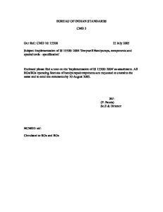 BUREAU OF INDIAN STANDARDS CMD 3. Our Ref.: CMD 16: July 2005
