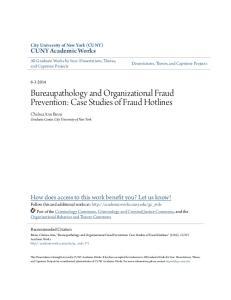 Bureaupathology and Organizational Fraud Prevention: Case Studies of Fraud Hotlines