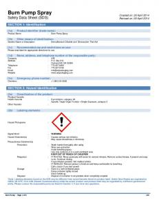 Burn Pump Spray Safety Data Sheet (SDS)