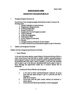 BURRUS GROUP HOME EMERGENCY PREPAREDNESS PLAN