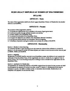 BUSH LEGACY REPUBLICAN WOMEN OF WEATHERFORD BYLAWS