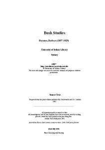 Bush Studies. Baynton, Barbara ( ) University of Sydney Library. Sydney