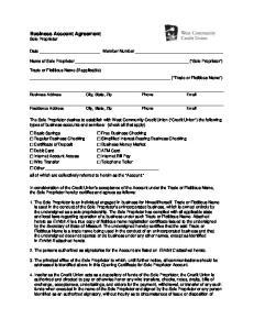 Business Account Agreement Sole Proprietor