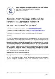 Business advisor knowledge and knowledge transference: A conceptual framework