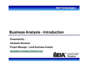 Business Analysis - Introduction