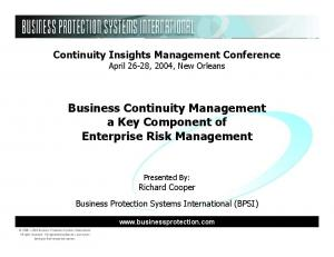 Business Continuity Management a Key Component of Enterprise Risk Management