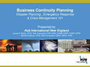 Business Continuity Planning Disaster Planning, Emergency Response & Crisis Management 101