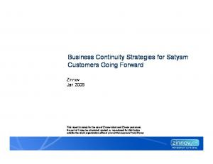 Business Continuity Strategies for Satyam Customers Going Forward